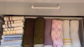 洗面台下段に収納したタオル